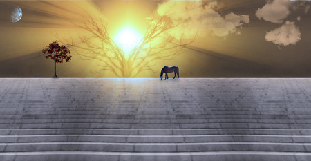 Bright sunbeams. Dusk or dawn. Horse grazes on stone stairs. Tree with red leafs. 3D rendering Stock Photo