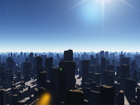 Ruined megapolis. 3D rendering