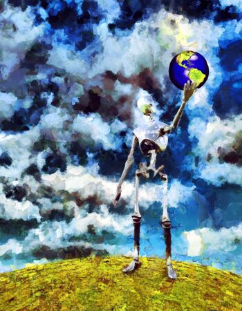 Alien robot holds planet Earth in his hand. Oil painting. Stock Photo
