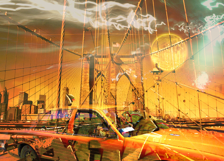 Surreal digital art. Yellow cab on the Brooklyn bridge. Graffiti elements. Full moon in the sky.