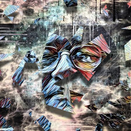 Abstract schilderij. Het gezicht van de man. 3D-weergave Stockfoto