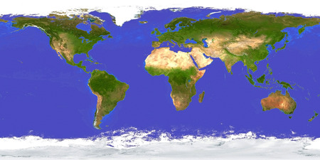 Earth Map Aerial View Day. 3D rendering