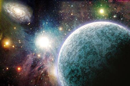 Planets in vivid space. 3D rendering
