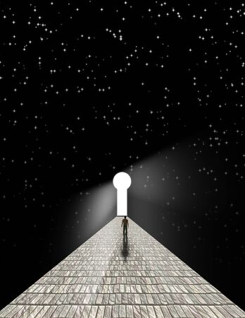 Man before keyhole on stone road with starry background. 3D rendering Foto de archivo