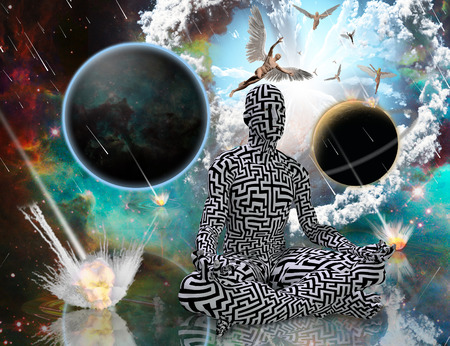 Surreal composition. Planetary Armageddon. Man with maze pattern in lotus pose. Angels comes from another dimensions. 3D rendering