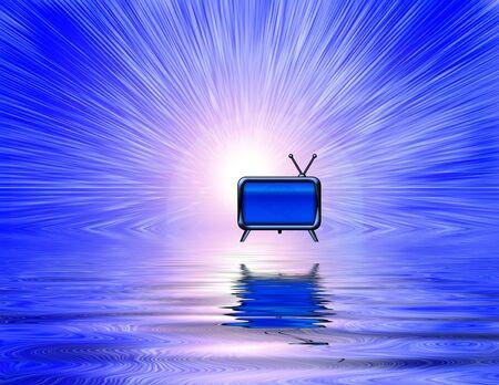 TV floats above liquid surface. 3D rendering