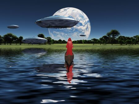 Surreal scene. Monk in red cloak floats in boat. Spacecrafts in the sky. Big exo planet at the horizon. 3D rendering