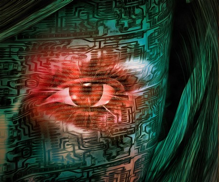 Surrealism. Red digital eye of droid woman. Stock Photo