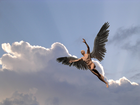 Surrealism. Naked man with silver color wings flies in the cloudy sky