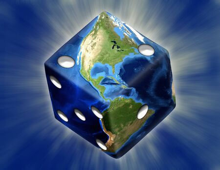 Global Gamble Earth in shape of dice with burst