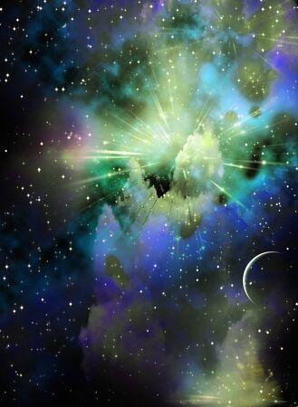 Vivid nebula and small moon or planet Reklamní fotografie