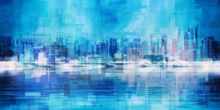 Modern Art. Manhattan, New York panorama in vivid blue colors Archivio Fotografico