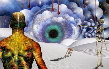 Man with weird eyes on body stands in surreal desert with hourglass and watchful eye. Skeleton points to the Eye.