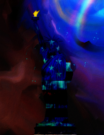 Abstract painting. Liberty statue. 3D rendering Stock Photo
