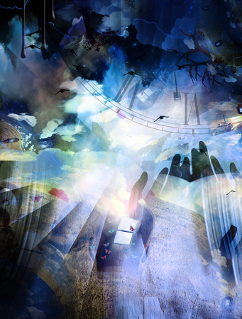 Surreal composition. Hands of prayer. Lightbulb represents ideas. Birds. 3D rendering