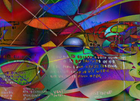 Modern art abstract with text. 3D rendering Stock Photo