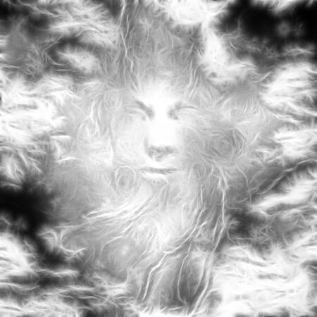 Surreal digital art. Ghost face in the clouds.