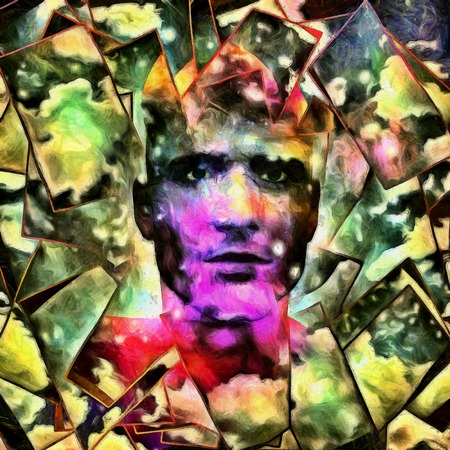 Surreal digital art. Mans head with stars and clouds. Abstract background.