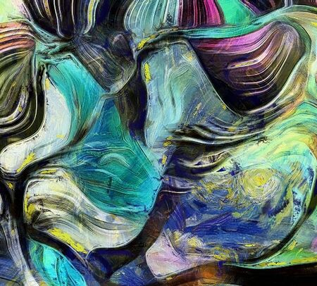 Swirling Shapes, Color and Lines. 3D rendering.