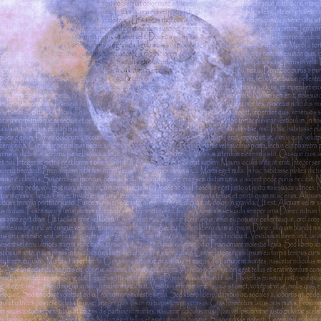 Surreal composition. Moon on latin text background