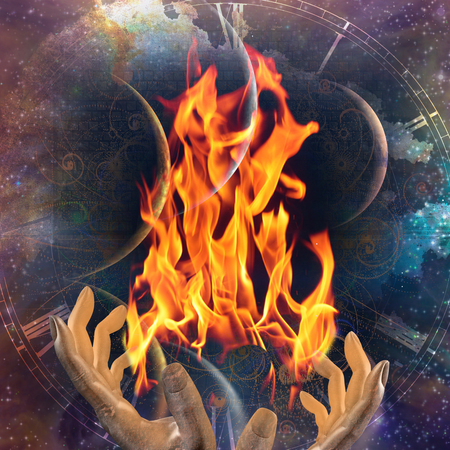 Hands with fire on abstract space background Stock Photo