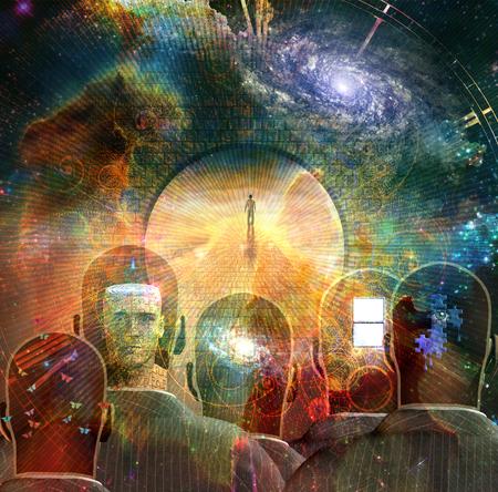 Surrealismo. Homem caminha em uma estrada de pedra no espaço. Cabeças de homens com pensamentos diferentes dentro. Renderização em 3D.