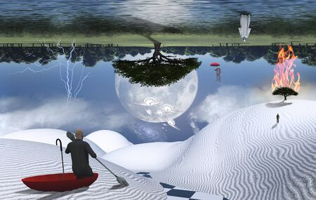 Surreal painting. Man in red umbrella floating on white desert another man flying with umbrella. Figure of man and monk in a distance. Burning tree. Big moon rising above green forest. Winged clocks represents flow of time.