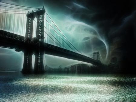 Tornado NYC Illustration. Manhattan Bridge