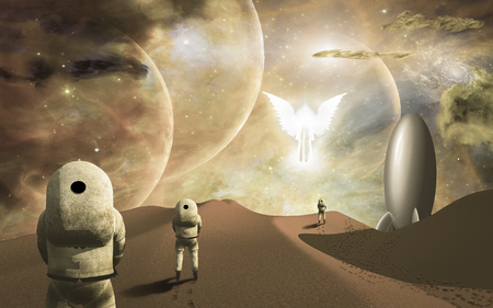 Astronauts on alien planet and their rocket ship  greeted by angelic glowing winged figure. Some elements provided courtesy of NASA