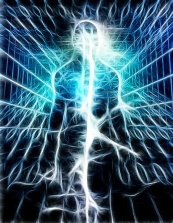 Surrealismo. Energia brillante all'interno della sagoma umana. Archivio Fotografico - 94499220
