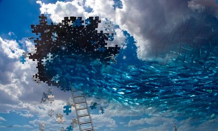 Fish swim into hole in the sky. Pieces of puzzle Stock Photo