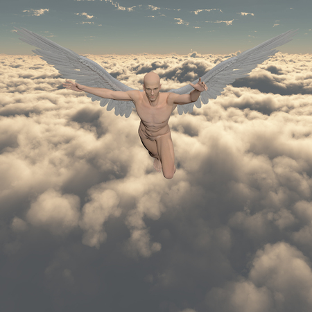Surrealism. Naked man with angel's wings flies in cloudy sky. 3D render. Banque d'images - 95230447