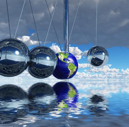Surreal digital art. Newtons pendulum. One of the balls represents planet Earth. Stock Photo