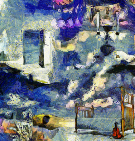 Complex abstract painting. Open door to another world. Hourglass. Bed and violin.