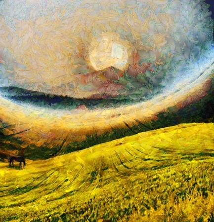 Oil painting. Horse in the field. Yellow moon rise over mountain.