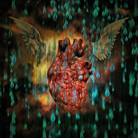Winged heart. Raindrops. Stock Photo
