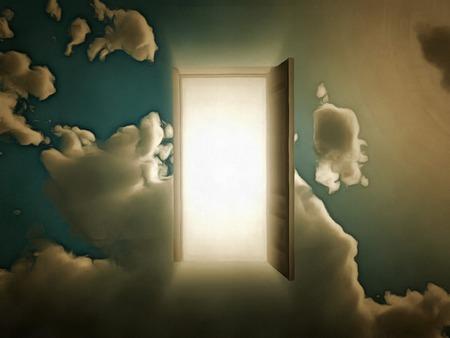 Surrealism. Open door to another world. Stock Photo