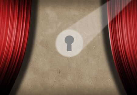 Spoted keyhole on the stage wall with red curtains. 3D rendering