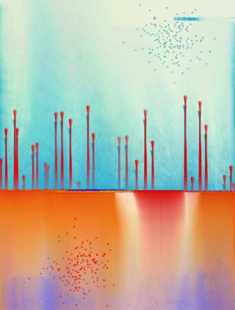 Abstract Painting. Drops and geometric figures. 3D rendering