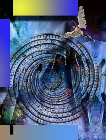 Surreal composition.Naked winged man represents angel. Time spiral Imagens