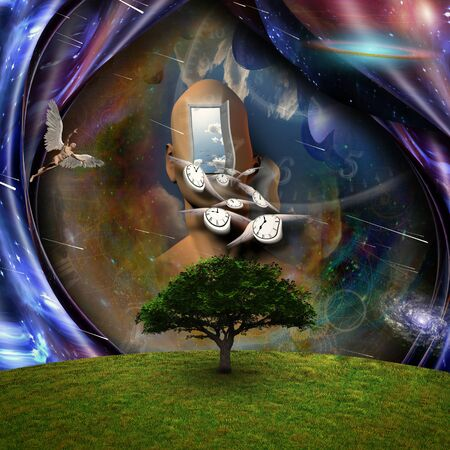 Surrealism. Flow of Time through space. Naked man with wings represents angels. 3D rendering.