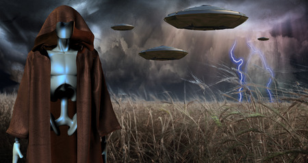 Alien robot stands in field of wheat. Spacecrafts in the sky