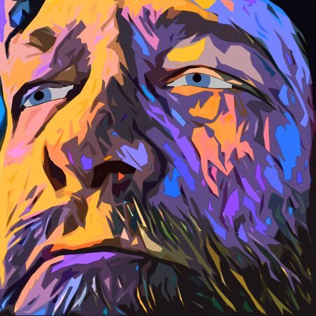 Surreal painting. Old mans face in purple colors.