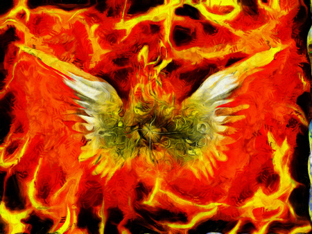 Surreal painting. Burning eye with wings. Flaming background.