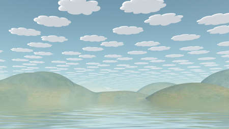 Spookily serene landscape. Cartoonish clouds in the sky