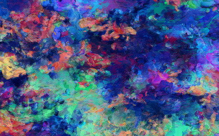 colorful abstract painting brush strokes oil on canvas 3d