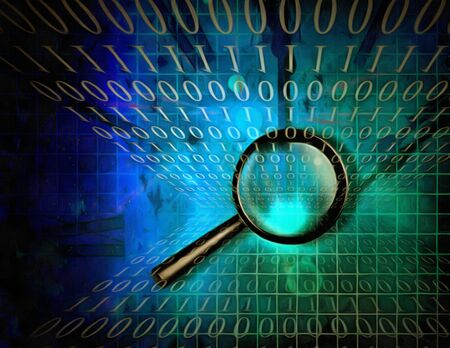 Surreal digital art. Magnifier on a binary code background. Stock Photo