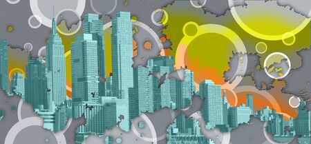 New York skyline silhouettes. Abstract background. 3D Rendering Stock Photo