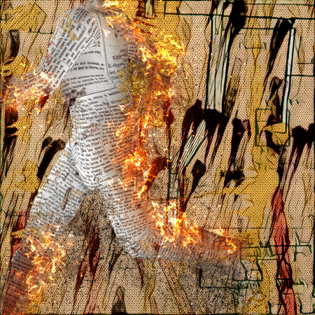 Abstraction. Burning figure of paper man. Stains and brush strokes at the background.