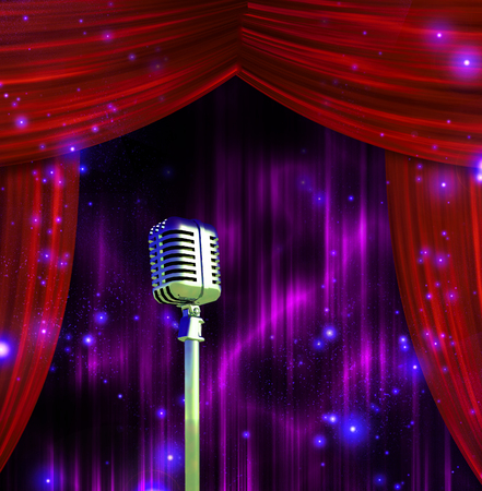 Classic Microphone with Colorful Stage Curtains